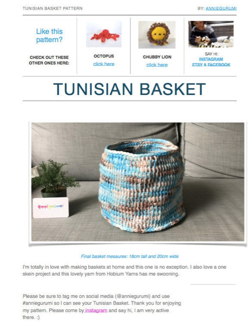 Pattern: Tunisian Crochet Basket Digital PDF File image 0