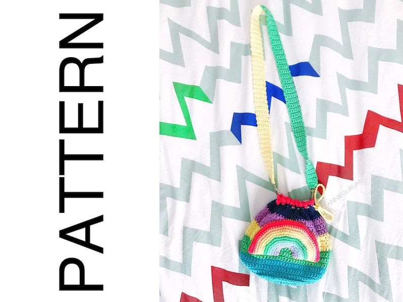Crochet Pattern: Rainbow Bag Digital PDF File image 0