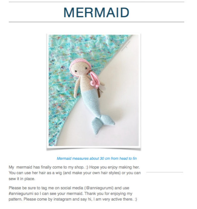 Pattern: Mermaid Amigurumi Digital PDF File image 0