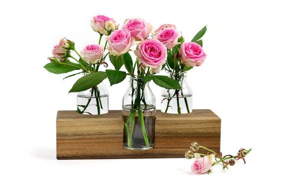 Blumenvase Tischdekoration Vase Nr. 3 in Nuss | Etsy