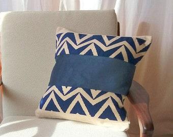 Wool & Velvet Blue Chevron Cushion