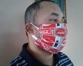 Red white Coca-Cola coke face mask