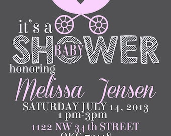 Carriage baby shower invitation- pink and gray