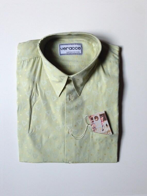 90Abbigliamento Maniche Corte Unica Geometrica Vintage Retrò Verde Uomo Anni Fantasia Camicia Ragazzo QrstChd