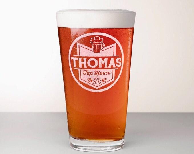 Custom Beer Glass, Engraved Pint Glass - Cascade