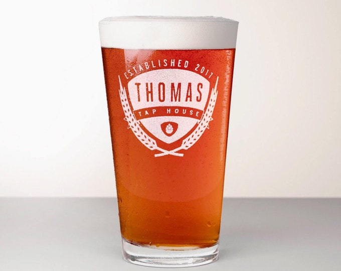 Custom Beer Glass, Engraved Pint Glass - Saaz