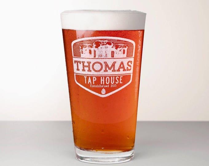 Custom Beer Glass, Engraved Pint Glass - Summit
