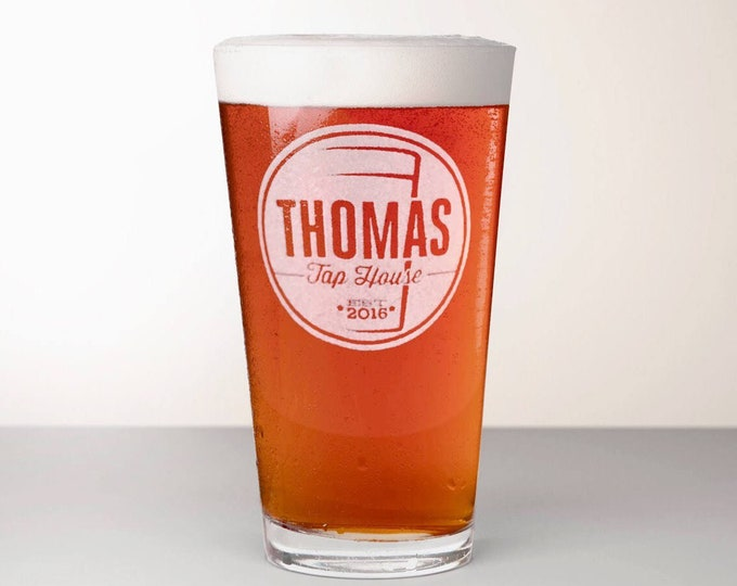Custom Beer Glass, Engraved Pint Glass - Magnum