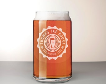 Custom Beer Can Glass, Engraved Can Pint Glass - Comet