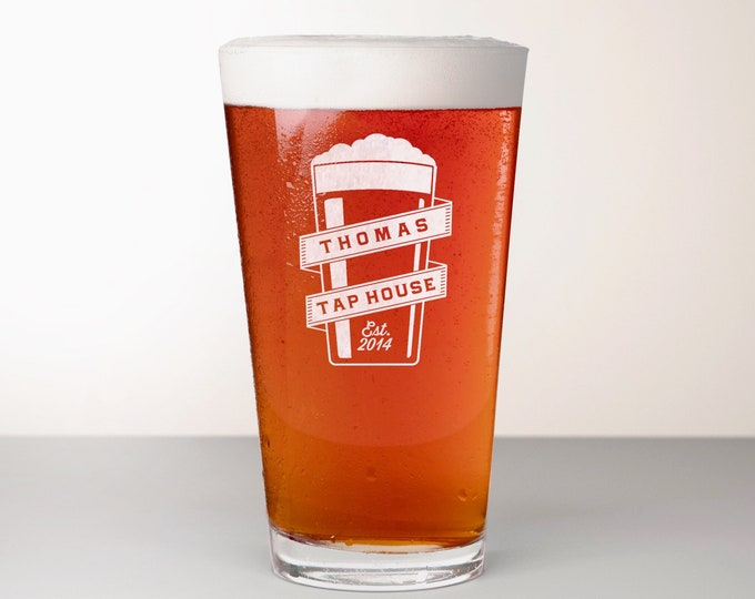 Custom Beer Glass, Engraved Pint Glass - Golding
