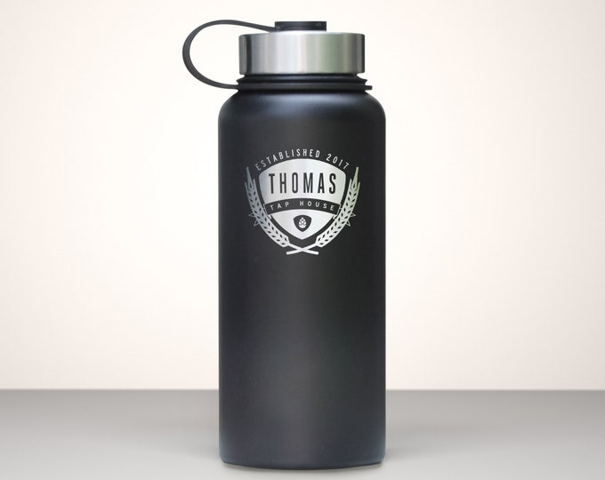 Beer Growler, Custom Vacuum Sealed Stainless Steel Growler 32oz - Saaz