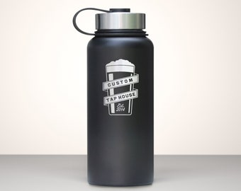 Beer Growler, Custom Vacuum Sealed Stainless Steel Growler 32oz - Golding
