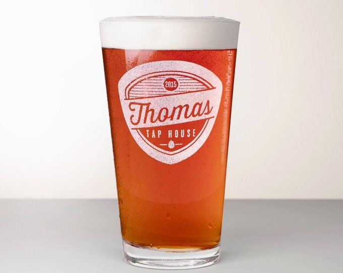 Custom Beer Glass, Engraved Pint Glass - Amarillo