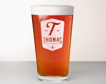 Custom Beer Glass, Engraved Pint Glass - Bravo