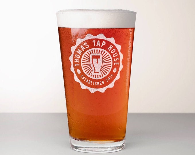 Custom Beer Glass, Engraved Pint Glass - Comet