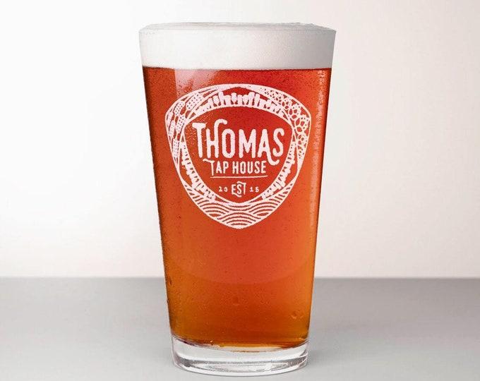Custom Beer Glass, Engraved Pint Glass - Mosaic