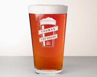 Custom Beer Glass, Engraved Pint Glass - Golding