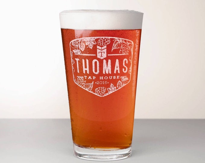 Custom Beer Glass, Engraved Pint Glass - Citra