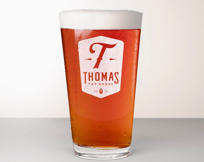 Custom Beer Glass, Engraved Pint Glass - Bravo