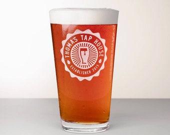 Custom Beer Glass, Engraved Pint Glass - Comet