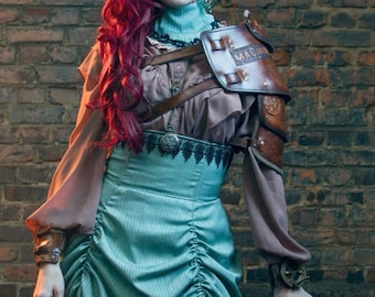 Machina Reficere - SteamPunk Shoulder armour - Handmade leather /  From vegetanned hand dyed leather (SPSA005)