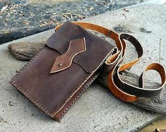 Steampunk Belt Bag - Leather Crossbody Bag - Brown Leather Bag - Leather Shoulder Bag - Leather Purse - Crossbody Purse - Leather Messenger