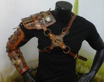Steampunk Armor - Shoulder Armor - Steampunk Clothing - Leather Armor - Cosplay Armor - Steampunk Arm - Steampunk Costume - Piece of an art