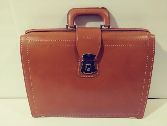 Vintage 1950's Tan Leather Briefcase Attache