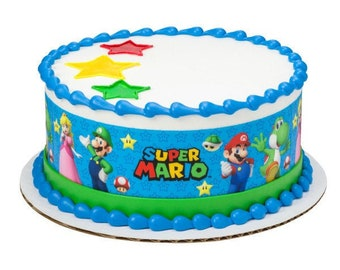 Outstanding Mario Cake Topper Etsy Funny Birthday Cards Online Bapapcheapnameinfo
