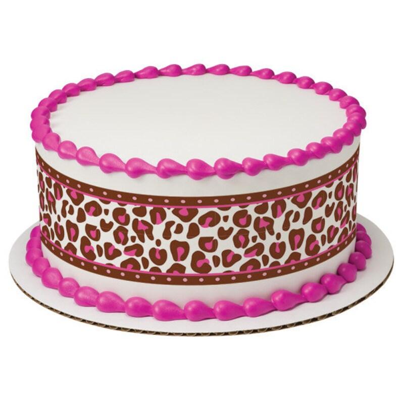 Kitchen, Dining & Bar Pink Cheetah Safari Jungle Edible Cake Border Decoration Set Of 3 Strips