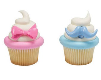 Baby Gender Reveal (Pink Bow & Blue Mustache) Cupcake Topper Rings - Set of 12