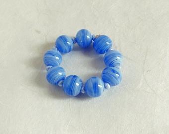 Set glass beads handmade Lampwork Glass Beads Glassbeads Blau Weiss Bavaria blue white Murano glass handmade