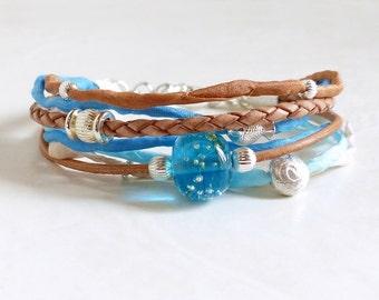 Bracelet Sylt silk bracelet leather bracelet Habotai Jewelry