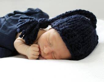 Photo Prop, Newborn Baby Hat, Tassel Newborn Boy Prop Newborn Navy- Gardenia Hat