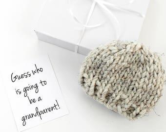 Grandparent Pregnancy Announcement, Baby Reveal Idea, Newborn Hat, Gift Box