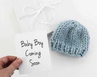 Baby Boy Announcement, Pregnancy Reveal, Baby Hat, Grandparent Announcement, Glacier