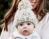 Knit Baby Hat, Toddler Beanie Knitted, Newborn Hat Oatmeal- Hibiscus Hat