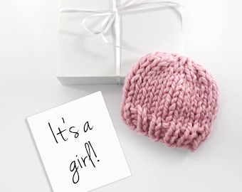 Gender Reveal Announcement, Pregnancy Reveal, Baby Girl Hat, Choose Your Color