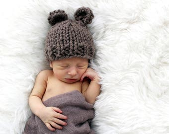 Bear Knit, Newborn Hat Baby, Photo Prop Bear, Photography Props Baby Hat Taupe- Violet Hat