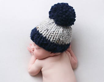 Baby Hat Pom Pom, Newborn Photography, Photo Props Boy- Hibiscus Hat