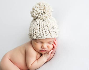 Baby Hat Knit, Pom Newborn Hat Knitted Bobble Hat Oatmeal- Hibiscus Hat