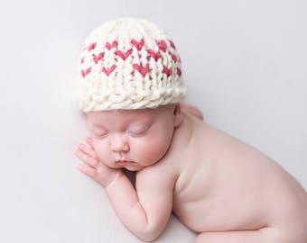 Knit Hat Baby, Valentine Photo Prop, Heart Newborn Hat, Fair Isle Hearts- Primrose Hat