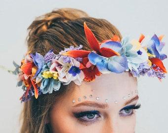 HAWAII - Flowercrown, Frida Kahlo inspired floral headpiece, Wedding hair accessories, headband, Bridal headpiece