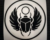 Egyptian Scarab Beetle Decal - Circle Outline Sticker - 16 Colors Multiple Sizes