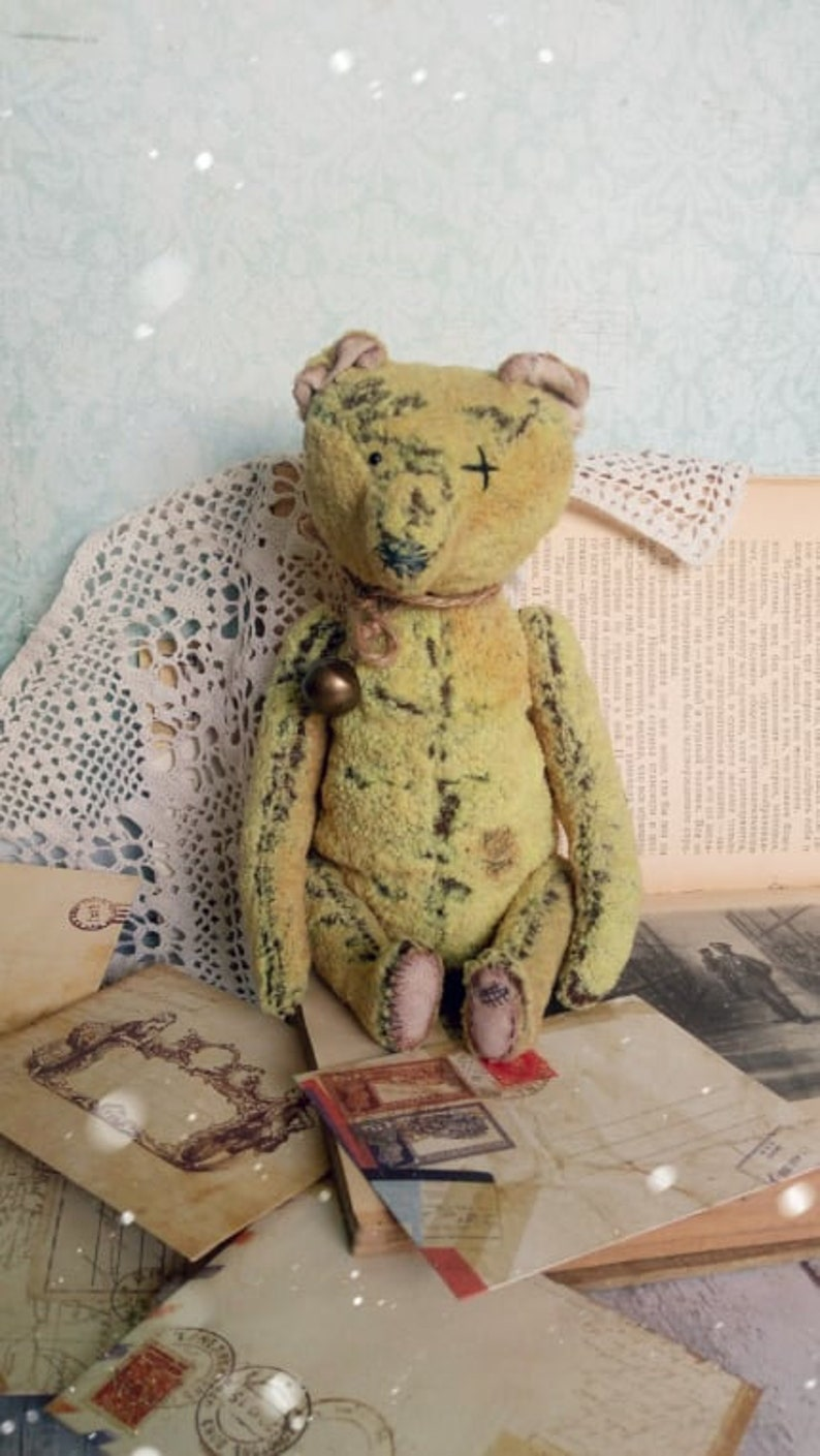 Vintage bear Antique teddy Antique toys Plush teddy bear Stuffed teddy bear Attic toy Gift for her Collectible toy Gift Birthday gift