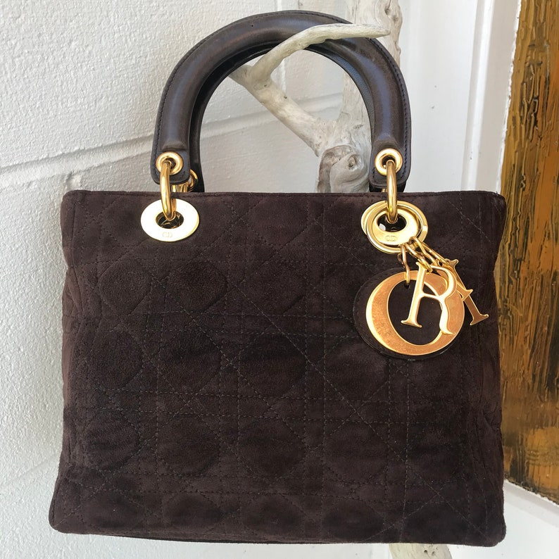 CHRISTIAN DIOR Brown Suede Lady Dior Cannage Stitch Medium  7a74a6725a4af
