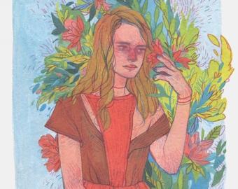 Spring Mood - Original Art - Tempera Painting  - Portrait