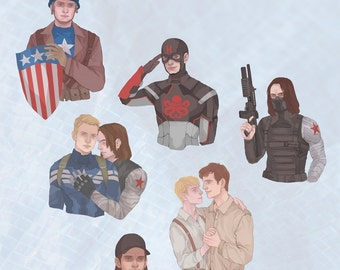 Stucky - Sticker Set - Steve Rogers - Bucky Barnes