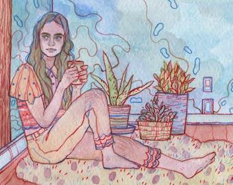 Tea Break - Original - Tempera Painting