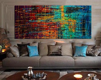 Painting Jackson Pollock Abstract Art Drip Style, Oil Painting thick layers contemporary wall art on Canvas, Original Painting by Maitreyii
